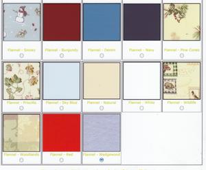 Picture of Flannel fabric options.