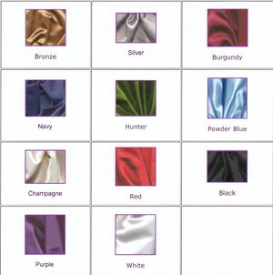 PICTURE OF BRIDAL SATIN COLORS.
